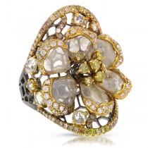 3.76ct 18k Black Rhodium Gold Fancy Color Diamond Flower Ring