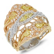 1.00ct 18k Three-tone Gold White & Fancy Color Diamond Ring