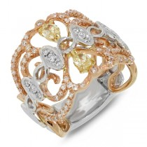 0.88ct 18k Three-tone Gold White & Fancy Color Diamond Ring