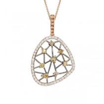 0.70ct 14k Rose Gold Fancy Color Diamond Pendant Necklace