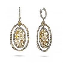6.11ct 18k Black Rhodium Gold Fancy Color Diamond Earrings