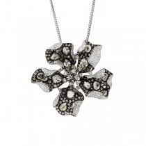 7.09ct 18k Black Rhodium Gold Diamond Flower Pendant Necklace
