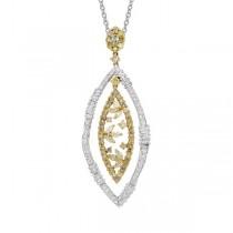 3.76ct 18k Two-tone Gold Fancy Color Diamond Pendant Necklace