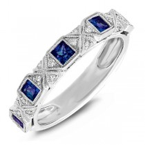 0.09ct Diamond & 0.57ct Blue Sapphire 14k White Gold Lady's Band