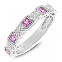 0.09ct Diamond & 0.59ct Pink Sapphire 14k White Gold Lady's Band