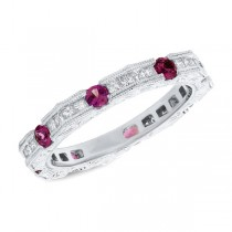 0.56ct Diamond & 0.81ct Ruby 14k White Gold Lady's Ring
