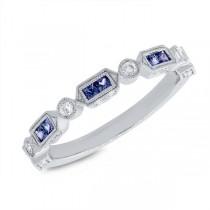 0.21ct Diamond & 0.42ct Blue Sapphire 14k White Gold Lady's Ring