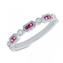 0.21ct Diamond & 0.40ct Ruby 14k White Gold Lady's Ring