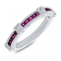 0.19ct Diamond & 0.60ct Ruby 14k White Gold Lady's Ring