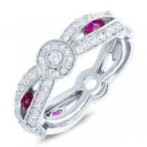 0.82ct Diamond & 0.33ct Ruby 14k White Gold Lady's Ring