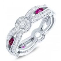 0.82ct Diamond & 0.33ct Ruby 14k White Gold Lady's Ring