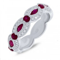 0.18ct Diamond & 0.95ct Ruby 14k White Gold Lady's Ring