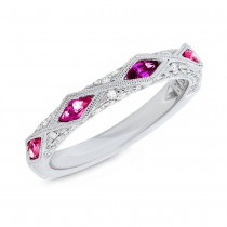 0.33ct Diamond & 0.64ct Ruby 14k White Gold Lady's Ring