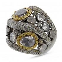 5.18ct 18k White Gold Fancy Color Diamond Ring