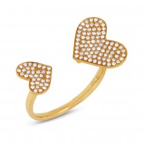 0.33ct 14k Yellow Gold Diamond Pave Heart Ring Size 8