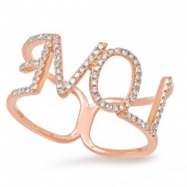 0.20ct 14k Rose Gold Diamond ''Love'' Ring Size 5.5