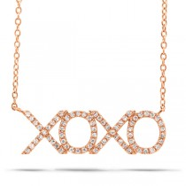 0.19ct 14k Rose Gold Diamond ''XOXO'' Necklace
