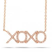 0.19ct 14k Rose Gold Diamond ''XOXO'' Necklace