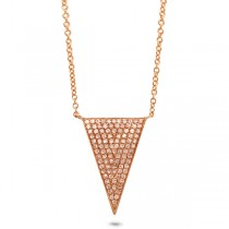 0.27ct 14k Rose Gold Diamond Pave Triangle Necklace
