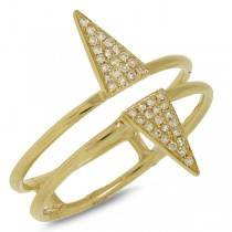 0.11ct 14k Yellow Gold Diamond Pave Triangle Ring