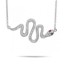 0.31ct Diamond & 0.02ct Ruby 14k White Gold Snake Necklace