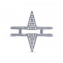 0.11ct 14k White Gold Diamond Pave Triangle Ring Size 4.5