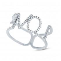 0.20ct 14k White Gold Diamond ''Love'' Ring Size 5.25