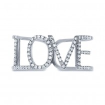 0.20ct 14k White Gold Diamond ''Love'' Ring Size 5.25