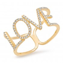 0.20ct 14k Yellow Gold Diamond ''Love'' Ring Size 11
