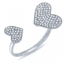0.33ct 14k White Gold Diamond Pave Heart Ring