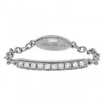 0.09ct 14k White Gold Diamond Chain Ring