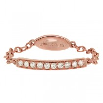 0.09ct 14k Rose Gold Diamond Chain Ring