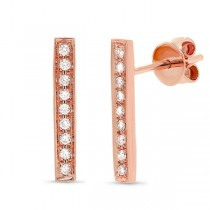 0.14ct 14k Rose Gold Diamond Bar Earrings