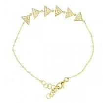 0.22ct 14k Yellow Gold Diamond Pave Triangle Bracelet