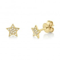 0.07ct 14k Yellow Gold Diamond Star Earrings