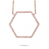 0.25ct 14k Rose Gold Diamond Hexagon Necklace