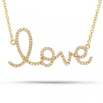 0.18ct 14k Yellow Gold Diamond ''Love'' Necklace