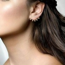 0.27ct 14k Yellow Gold Diamond Star Ear Jacket Earrings With Studs