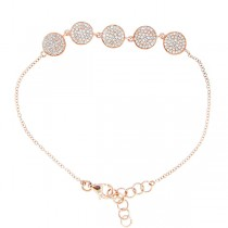 0.46ct 14k Rose Gold Diamond Pave Circle Bracelet
