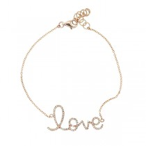 0.17ct 14k Rose Gold Diamond ''Love'' Bracelet