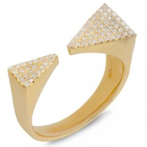 0.22ct 14k Yellow Gold Diamond Pave Triangle Ring