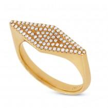 0.25ct 14k Yellow Gold Diamond Pave Lady's Ring Size 6.5