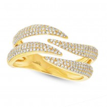 0.59ct 14k Yellow Gold Diamond Pave Lady's Ring