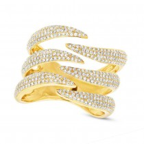 0.86ct 14k Yellow Gold Diamond Pave Lady's Ring