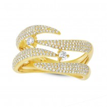 0.70ct 14k Yellow Gold Diamond Pave Lady's Ring