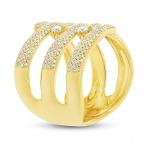 1.12ct 14k Yellow Gold Diamond Pave Lady's Ring