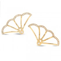 0.28ct 14k Yellow Gold Diamond Ear Jacket Earrings With Studs
