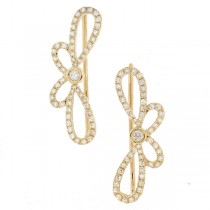 0.34ct 14k Yellow Gold Diamond Ribbon Bow Ear Crawler Earrings