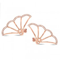 0.28ct 14k Rose Gold Diamond Ear Jacket Earrings With Studs