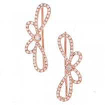 0.34ct 14k Rose Gold Diamond Ribbon Bow Ear Crawler Earrings